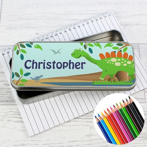 Dinosaur Pencil Tin with Pencil Crayons
